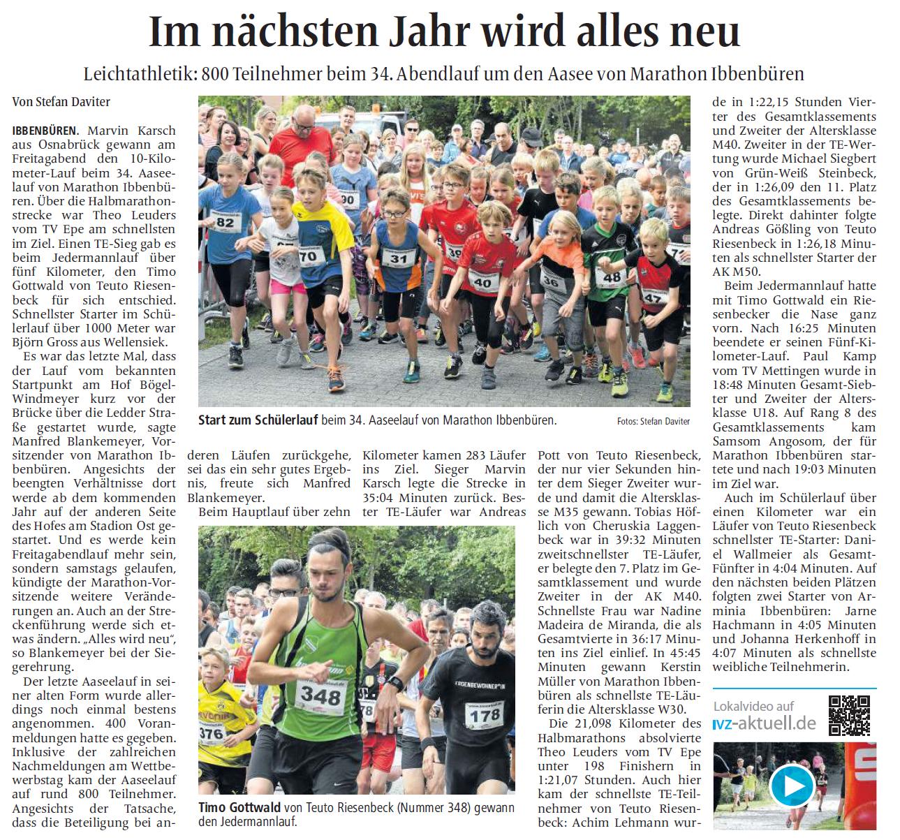 Ibbenbürener Volkszeitung, 7.8.2017-2 - Stefan Daviter (Autor)©ivz.medien GmbH & Co. KG , alle Rechte vorbehalten